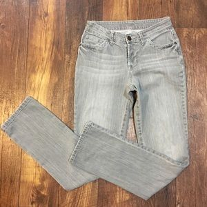 Boden Button Fly Gray Stonewashed Jeans Sz 8 Long